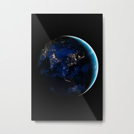 Asia and Australia At Night, Earth From Space, Planet Earth, Space Background, Wall Art Decor Metal Print