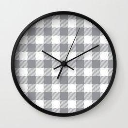 Buffalo Plaid - Grey & White Wall Clock