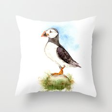 Puffin on a Rock Throw Pillow