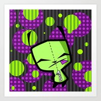 invader zim Art Prints featuring Happy Gir from Invader Zim by NefariousBear