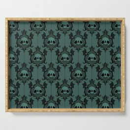 Halloween Damask Teal Serving Tray