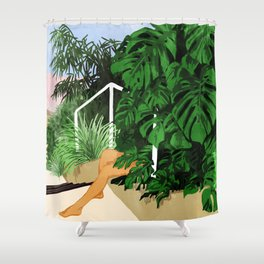 Hiding in Green #painting #illustration Shower Curtain