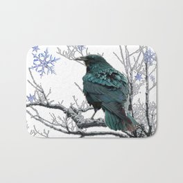 CROW/RAVEN IN WINTER TREE & SNOWFLAKES Bath Mat