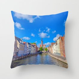 The canals of Bruges, Belgium Throw Pillow