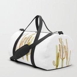 Minimalist Cactus Drawing Watercolor Painting Southwestern Green Cacti Duffle Bag