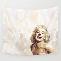 low poly Wall Tapestries featuring Marilyn low poly by Pinkpulp