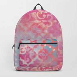 Layered Patterns - Pink, Coral, Turquoise and Cream Backpack