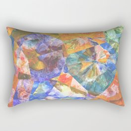 Azure Blue Orange Teal Colorful Polygon Mosaic Art Rectangular Pillow