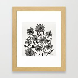 Sunflowers – Black Palette Framed Art Print