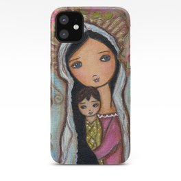 Madonna with Child and Flowers by Flor Larios iPhone Case