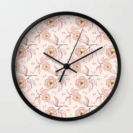 Pink Peony Kiss Floral Pattern Wall Clock