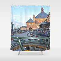 bicycles Shower Curtains featuring bicycles by  Agostino Lo Coco