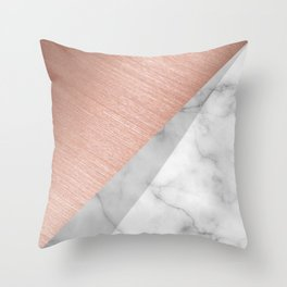 Rose Gold and Marble Throw Pillow