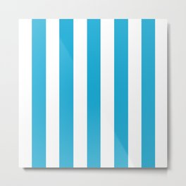 Cerulean (Crayola) azure - solid color - white vertical lines pattern Metal Print
