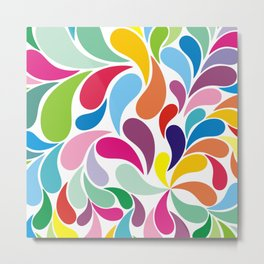 Rainbow colorful paisely on white Metal Print