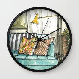 Modern living room watercolor - Interior design Wall Clock