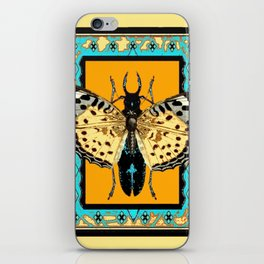 BUTTERFLY WESTERN YELLOW-ORANGE-TURQUOISE INSECT  PATTERNS iPhone Skin