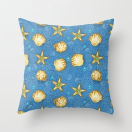 Blue seamless of gold seashells Throw Pillow