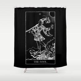 0. The Fool- White Line Tarot Shower Curtain