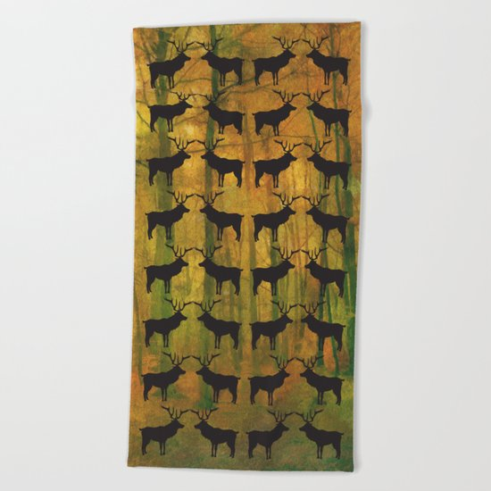 Deer in autumn Beach Towel