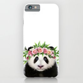 Baby Panda With Flower Crown, Baby Animals Art Print By Synplus iPhone Case