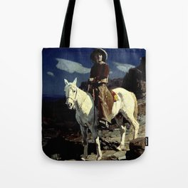 """""""Down the Moonlit Trail"""" by Frank Tenney Johnson Tote Bag"""