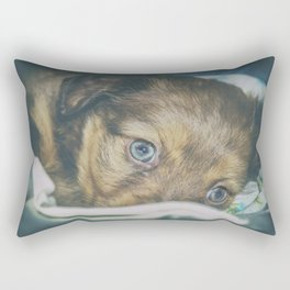 Brown puppy with blue eyes Rectangular Pillow