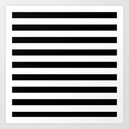 Midnight Black and White Stripes Art Print