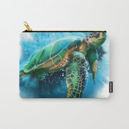 Big sea turtle watercolor Carry-All Pouch