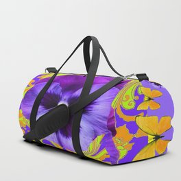 PURPLE PANSIES YELLOW BUTTERFLIES ABSTRACT FLORAL Duffle Bag
