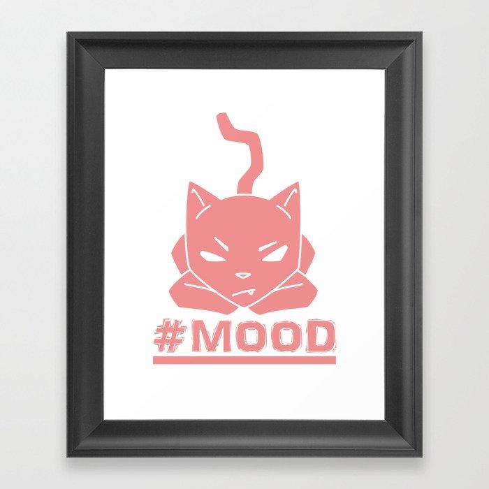 #MOOD Cat Pink Framed Art Print