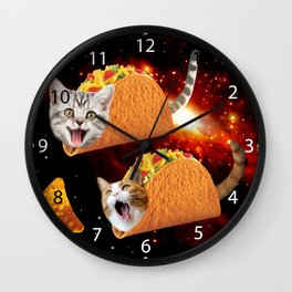 Taco Cats Space Wall Clock