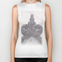 Pencil drawing of wood carved bench Biker Tank