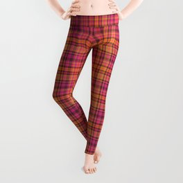 Picnic style checked multicoloured pattern in orange and Mexican pink Leggings