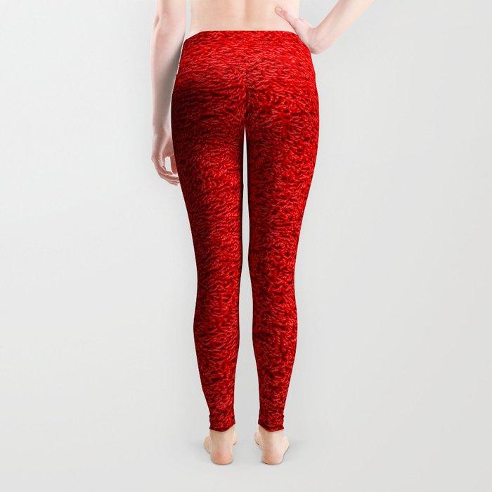 Rose Red Shag pile carpet pattern Leggings