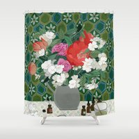 perfume Shower Curtains featuring Making perfume by Yuliya