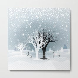 Winter Holiday Fairy Tale Fantasy Snowy Forest Collection Metal Print