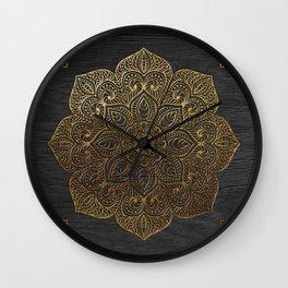 Wood Mandala - Gold Wall Clock
