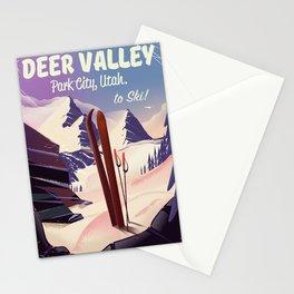 Deer Valley, park city, Utah, ski poster print. Stationery Cards