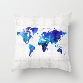 World Map 17 - Blue Art By Sharon Cummings Throw Pillow