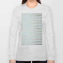 Abstract Stripes Gold Tropical Ocean Sea Turquoise Long Sleeve T-shirt