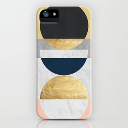 Marble and gold circle iPhone Case