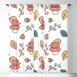 cute lovely autumn fall pattern with birds, mushroom, leaves, branches, acorns and chestnuts Blackout Curtain
