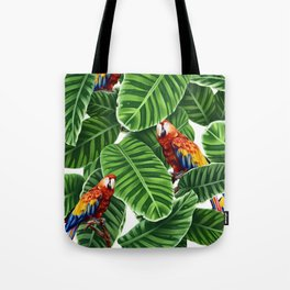 tropical leaves macaw pattern Tote Bag