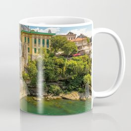 Ancient Stari Most Old Mostar Bridge Neretva River Bosnia Herzegovina Europe Ultra HD Coffee Mug