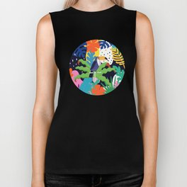 Bold Tropical Jungle Abstraction With Toucan Memphis Style Biker Tank