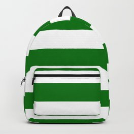 Large Green and Snow White Christmas Cabana Stripes Backpack
