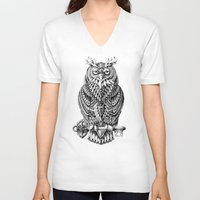 bioworkz V-neck T-shirts featuring Great Horned Owl by BIOWORKZ