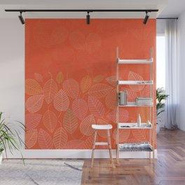 LEAVES ENSEMBLE ORANGE FLAME Wall Mural