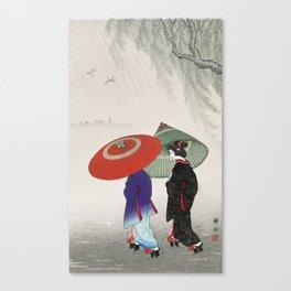 The walk in the rain Canvas Print